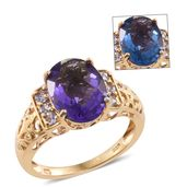 Color Change Fluorite, Tanzanite 14K YG Over Sterling Silver Ring (Size 7.0) TGW 6.75 cts.