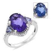 Color Change Fluorite, Tanzanite, Cambodian Zircon Platinum Over Sterling Silver Ring (Size 10.0) TGW 7.18 cts.