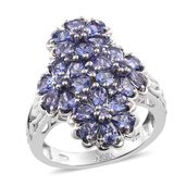 Tanzanite Platinum Over Sterling Silver Floral Cluster Ring (Size 6.0) TGW 3.72 cts.