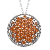 Salamanca Fire Opal, Cambodian Zircon Platinum Over Sterling Silver Pendant With Chain (20 in) TGW 3.00 cts.