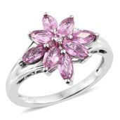 Madagascar Pink Sapphire Platinum Over Sterling Silver Flower Ring (Size 7.0) TGW 2.40 cts.