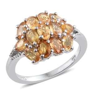 Yellow Sapphire Platinum Over Sterling Silver Split Cluster Ring (Size 7.0) TGW 3.62 cts.