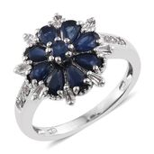 Kanchanaburi Blue Sapphire, White Topaz Platinum Over Sterling Silver Ring (Size 9.0) TGW 2.50 cts.