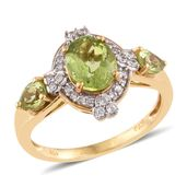Hebei Peridot, Cambodian Zircon 14K YG Over Sterling Silver Ring (Size 7.0) TGW 2.56 cts.