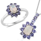 Kevin's Presidential Deal Ethiopian Welo Opal, Tanzanite Platinum Over Sterling Silver Ring (Size 7) and Pendant With Chain (20 in) TGW 2.42 cts.