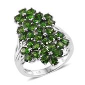 Russian Diopside Platinum Over Sterling Silver Cluster Floral Ring (Size 10.0) TGW 6.75 cts.