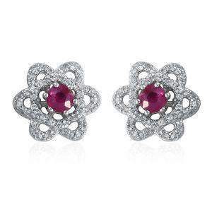 Burmese Ruby, Cambodian Zircon Platinum Over Sterling Silver Flower Stud Earrings TGW 1.82 cts.