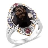 Brazilian Smoky Quartz, Pink Tourmaline, Tanzanite 14K YG and Platinum Over Sterling Silver Ring (Size 9.0) TGW 8.58 cts.