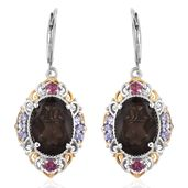 Brazilian Smoky Quartz, Pink Tourmaline, Tanzanite 14K YG and Platinum Over Sterling Silver Lever Back Earrings TGW 10.76 cts.