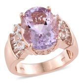 Dan's Collector Deal Rose De France Amethyst, White Topaz 14K RG Over Sterling Silver Ring (Size 10.0) 5 TGW 8.74 cts.