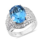 Swiss Blue Topaz, Cambodian Zircon Platinum Over Sterling Silver Ring (Size 7.0) TGW 13.28 cts.