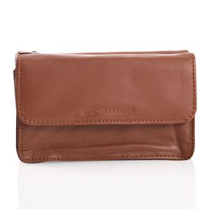 Tan Genuine Leather Triple Compartment Wallet with Zipper and Magnetic Closure (6x2x3.5 in)