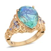 GP Peacock Quartz, Multi Gemstone 14K YG Over Sterling Silver Ring (Size 7.0) TGW 9.31 cts.