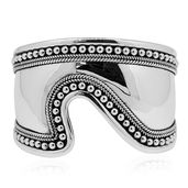 Doorbuster Bali Legacy Collection Sterling Silver Abstract Curved Bangle (7.50 in, 54.7g)