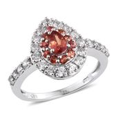 Orange Sapphire, Cambodian Zircon Platinum Over Sterling Silver Ring (Size 5.0) TGW 1.87 cts.