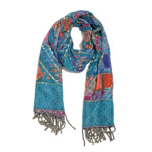 Turquoise and Multi Color Hand Embroidered 100% Acrylic Reversible Fringe Scarf (L78xW28 in)