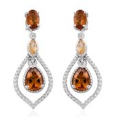 Serra Gaucha Citrine Platinum Over Sterling Silver Earrings TGW 2.51 cts.
