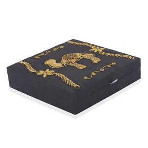 Black with Camel Pattern Hand Embroidered Ring Box (10x10 in) (Approx 100 Rings)