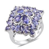 Tanzanite, Cambodian Zircon Platinum Over Sterling Silver Cluster Ring (Size 5.0) TGW 5.54 cts.