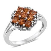 Orange Sapphire, Cambodian Zircon Platinum Over Sterling Silver Ring (Size 10.0) TGW 2.03 cts.