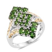 Russian Diopside, Cambodian Zircon 14K YG and Platinum Over Sterling Silver Ring (Size 7.0) TGW 2.86 cts.