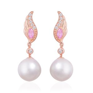 White South Sea Pearl (12-13 mm), Madagascar Pink Sapphire, White Zircon 14K RG Over Sterling Silver Earrings TGW 0.98 cts.