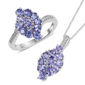 One Day Only Tanzanite, Cambodian Zircon Platinum Over Sterling Silver Ring (Size 7) and Pendant With Chain (20 in) TGW 3.91 cts.