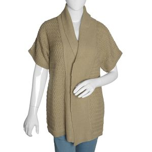 Khaki 100% Acrylic Front Open Waterfall Collar Cardigan (XL/XXL)