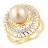 South Sea Golden Pearl (10-11 mm), White Zircon 14K YG Over Sterling Silver Ring (Size 7.0) TGW 0.66 cts.