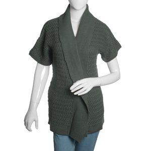Steel Gray 100% Acrylic Front Open Waterfall Collar Cardigan (XL/XXL)