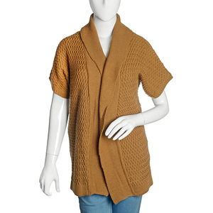 Camel 100% Acrylic Front Open Waterfall Collar Cardigan (M/L)