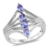 Premium AAA Tanzanite Platinum Over Sterling Silver Ring (Size 5.0) TGW 1.22 cts.