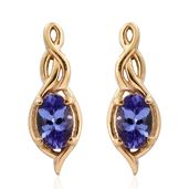 Premium AAA Tanzanite 14K YG Over Sterling Silver Earrings TGW 0.98 cts.