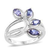 Premium AAA Tanzanite Platinum Over Sterling Silver 4 Stone Ring (Size 7.0) TGW 1.16 cts.
