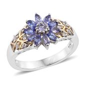Premium AAA Tanzanite, Cambodian Zircon 14K YG and Platinum Over Sterling Silver Ring (Size 10.0) TGW 1.49 cts.