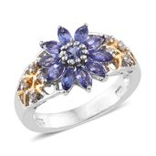 Premium AAA Tanzanite, Cambodian Zircon 14K YG and Platinum Over Sterling Silver Sunflower Ring (Size 6.0) TGW 1.49 cts.