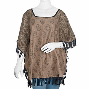 Black and Brown 100% Acrylic Floral Pattern Square Neck Poncho with Fringes (One Size)