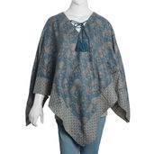 Teal and Gray 100% Acrylic Floral Pattern V-Shape Poncho with Drawstring Tassel (One Size)
