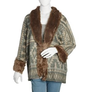 Gray and Cream 100% Acrylic Cozy Cardigan with Brown Faux Fur Trimming (M/L)