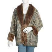 Gray and Cream 100% Acrylic Cozy Cardigan with Brown Faux Fur Trimming (1X/2X)