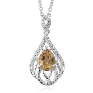 Brazilian Citrine Sterling Silver Pendant With Stainless Steel Chain (20 in) TGW 0.95 cts.