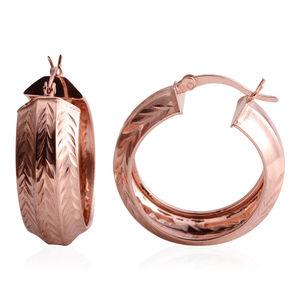 14K RG Over Sterling Silver Diamant Cut Hoop Earrings
