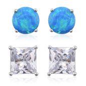 Simulated Diamond, Oregon Blue Opal Sterling Silver Set of 2 Earrings TGW 2.86 cts.