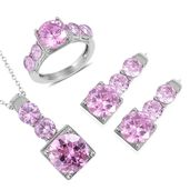 Simulated Pink Diamond Stainless Steel Earrings, Ring (Size 9) and Pendant With Chain (20 in) TGW 8.00 cts.