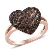 Red Diamond (IR) Black Rhodium & 14K RG Over Sterling Silver Heart Ring (Size 8.0) TDiaWt 0.81 cts, TGW 0.81 cts.