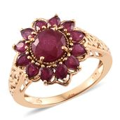 Niassa Ruby 14K YG Over Sterling Silver Flower Ring (Size 9.0) TGW 5.70 cts.