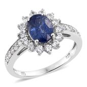 Masoala Sapphire, Cambodian Zircon Platinum Over Sterling Silver Ring (Size 8.0) TGW 3.96 cts.