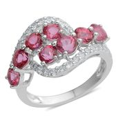Doorbuster Pink Danburite, White Zircon Sterling Silver Bypass Ring (Size 8.0) TGW 3.07 cts.