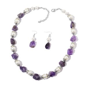 Rough Cut Amethyst, Simulated Pearl Stainless Steel Earrings and Necklace (22 in) TGW 275.00 cts.