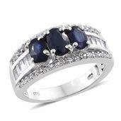 Kanchanaburi Blue Sapphire, White Topaz Platinum Over Sterling Silver Ring (Size 8.0) TGW 3.76 cts.